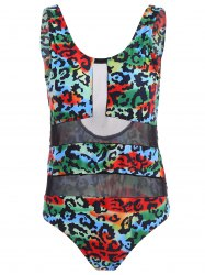 Stylish Scoop Collar See-Through Printed One-Piece Women's Swimwear -