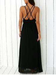 Criss Floor Length Open Back Long Party Slip Dress - BLACK