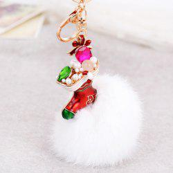 Christmas Shoes Chuzzle Faux Gem and Pearl Decorative Keyring - WHITE