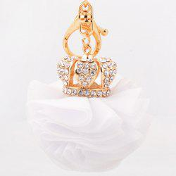Rhinestone Crown Layer Lace Flower Decorative Keyring - WHITE