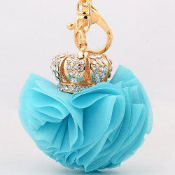 Rhinestone Crown Layer Lace Flower Decorative Keyring - BLUE