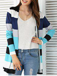 Open Front Colorful Striped Cardigan - COLORMIX