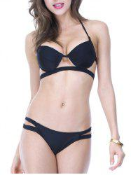 Halterneck Hollow Out Padded Bikini Set -