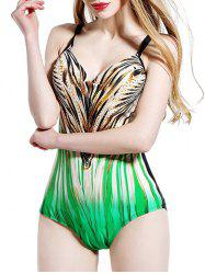 Gradient Printed Hollow Out Swimsuit -