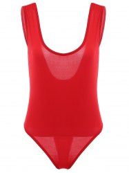 Chic Plunging Neck Red One Piece Swimwear For Women