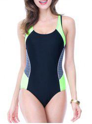 Color Block Holllow Out One Piece Swimsuit - BLACK/GREEN 3XL