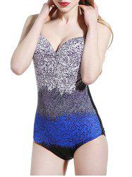 Backless Gradient Printed One Piece Swimsuit -