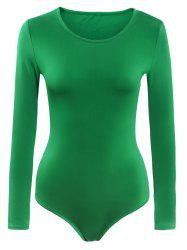 Scoop Neck Long Sleeves Buttoned Swimsuit -