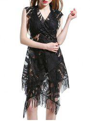 Guipure Tassel Design Openwork Lace Cover-Up