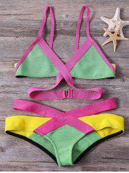 Women's Bandage Bikini Set Push-up Padded Bra Swimsuit Bathing Mixed Colors Suit Swimwear - GREEN M