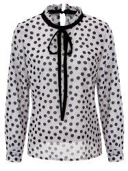 Polka Dot Bowtie Collar Chiffon Blouse - WHITE