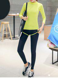 Couleur 3/4 T-shirt manches pure et Color Block Leggings Set -