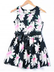 Belted Sleeveless Floral Print Dress -