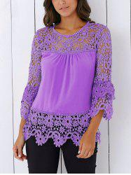 Lace Insert Crochet Lace Blouse