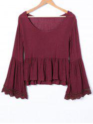 Scoop Neck Bell Sleeve Ruffle Blouse -