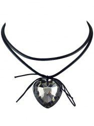 Faux Crystal Heart Bowknot Layered Choker -