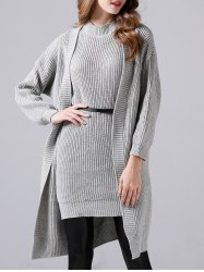 Sleeveless Sheath Knitted Dress and Long Sweater Coat -