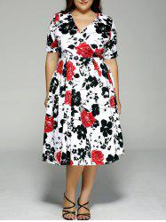 Plus Size High Waist Floral Surplice Dress - BLACK AND WHITE AND RED 3XL