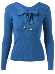 Bow Tie Long Sleeve Pullover Sweater -