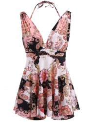 Vintage V-Neck Floral Print Two Piece Swimsuit For Women