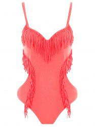 Women's Stylish Tassles Spaghetti Strap Candy Color One Piece Swimwear