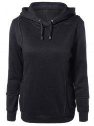Spliced Long Sleeve Drawstring Long Hoodie - BLACK 2XL