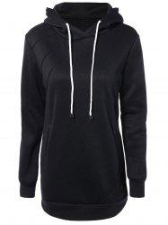 Slant Side Pocket Long Sleeve Drawstring Hoodie