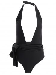 Plunging Neck Self-Tie Swimsuit For Women