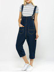 Loose-Fitting Pockets Design Drop Crotch Denim Capri Overalls -