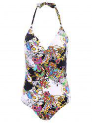 Chic Halter Low Cut Floral Print One-Piece Women's Swimwear