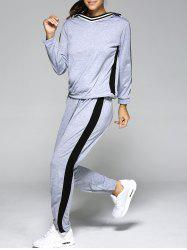Hooded Color Block Top with Running Jogger - LIGHT GRAY