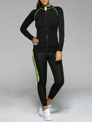 Contrast Color Zippered Letter Pattern Sports Suit -