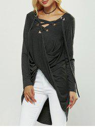 Cut Out Long Sleeve High Low Blouse -