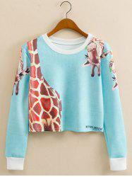 Giraffe Animal Print Cropped Long Sleeve Sweatshirt