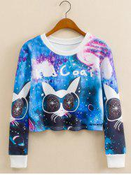 Glasses Kitty Starry Sky Print Cropped Long Sleeve Sweatshirt -