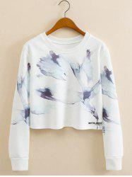 Abstract Ink Panting Cropped Long Sleeve Sweatshirt - WHITE