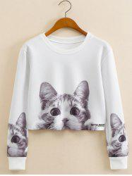 Kitty Pattern Cropped Long Sleeve Sweatshirt - WHITE