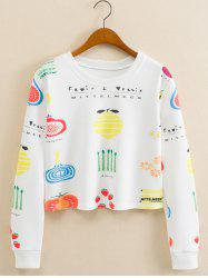 Fruits Figure Cropped Long Sleeve Sweatshirt - WHITE