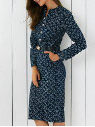 Leave Pattern Tie Belt Slit Dress