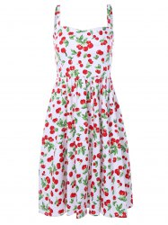 Cherry Print Spaghetti Strap Flare Dress
