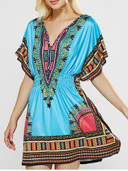 V-Neck Totem Printed Shirred Waist Dress