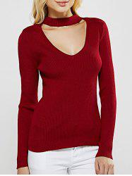 Choker Plunge Cut Out Long Sleeve Ribbed Knitwear