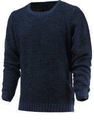 Brief Style Round Neck Long Sleeve Sweater - DEEP BLUE