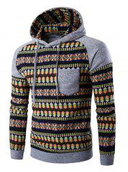 Color Block Tribal Print Pocket Hooded Raglan Sleeve Hoodie