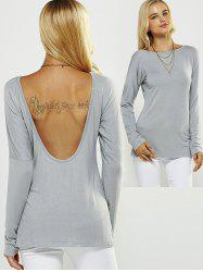 Backless Drop Shoulder T-Shirt - LIGHT GRAY M