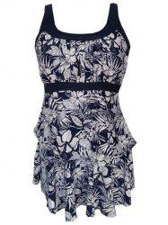 Floral Pattern Ruffled Padded Tankini Set -