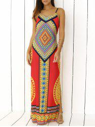 Spaghetti Strap Tribal Print Backless Maxi Dress -