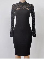 Turtleneck Long Sleeve Lace Spliced Sheath Dress - BLACK M