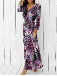 V Neck Cheetah Print Long Boho Dress - PURPLE