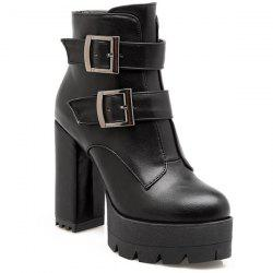 Zip Double Buckle Platform Short Boots